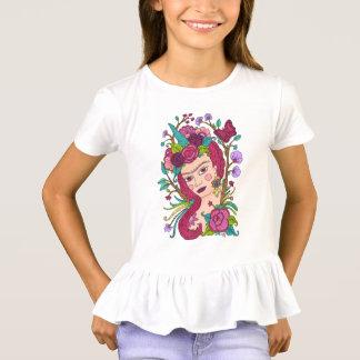 魔法のユニコーンの女の子のTシャツ Tシャツ