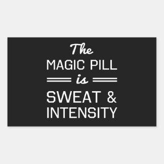 魔法の丸薬は強度発汗し、 長方形シール