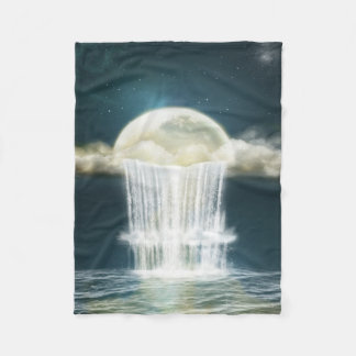 魔法の月の滝の小さいフリースブランケット フリースブランケット