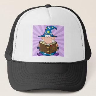 魔法の本を握っているおもしろいな魔法使い キャップ