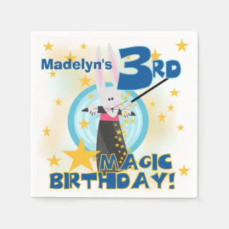 魔法の第3誕生日の紙ナプキン スタンダードカクテルナプキン