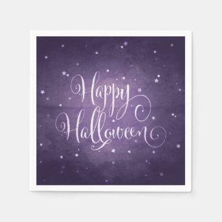 魔法の紫色および白はハッピーハローウィンを主演します スタンダードカクテルナプキン