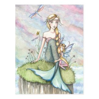 魔法の絶壁の人魚および妖精の郵便はがき ポストカード