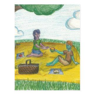 魔法の緑のコップのピクニック ポストカード