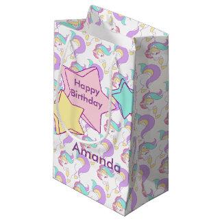 魔法の虹の誕生日のユニコーンのパーティー スモールペーパーバッグ