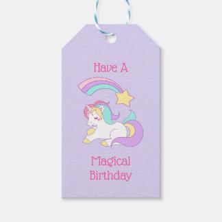 魔法の誕生日のユニコーンおよび流星 ギフトタグ