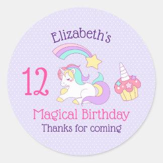 魔法の誕生日のユニコーンのカップケーキ及び流星 ラウンドシール