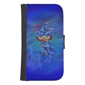 魔法の青い羽のファッションのフクロウのウォレットケース