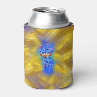 魔法の青い羽のファッションのフクロウ 缶クーラー