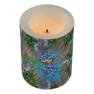 魔法の青い羽のフクロウの樹皮LEDの蝋燭 LEDキャンドル