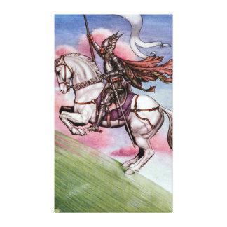 魔法の馬を持つ銀製の騎士 キャンバスプリント