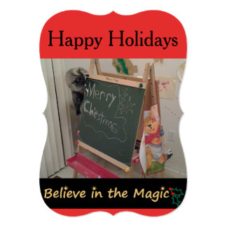 魔法の(猫の)クリスマスの挨拶状で信じて下さい カード