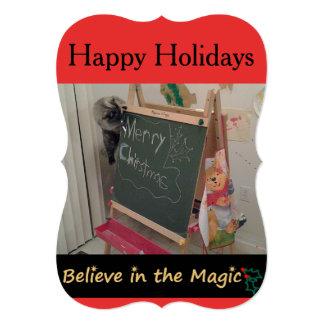 魔法の(猫の)クリスマスの挨拶状で信じて下さい 12.7 X 17.8 インビテーションカード