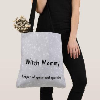 魔法使いのお母さんの灰色/灰色のきらめくデザイン トートバッグ