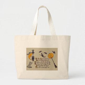 魔法使いのこうもりのフクロウの黒猫のジャックOのランタン ラージトートバッグ
