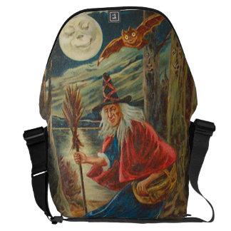 魔法使いのこうもりの月の黒猫 メッセンジャーバッグ