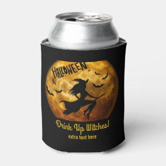 魔法使いのほうきの柄の上のおもしろいなハローウィンパーティの飲み物 缶クーラー