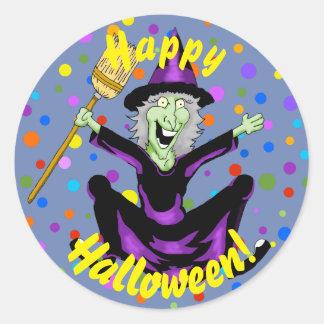 魔法使いのハロウィンの幸せなステッカー ラウンドシール