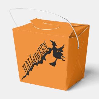 魔法使いのハロウィン黒いおよびオレンジGoodie箱 フェイバーボックス