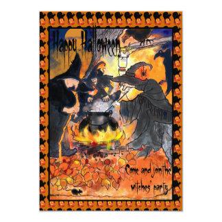 魔法使いのハローウィンパーティの招待状のオリジナルの芸術 12.7 X 17.8 インビテーションカード