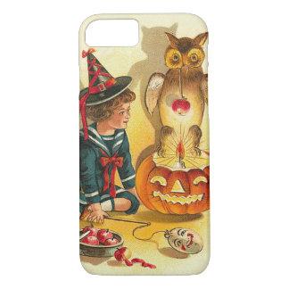 魔法使いのフクロウのハロウィーンのカボチャのちょうちんのカボチャ iPhone 8/7ケース