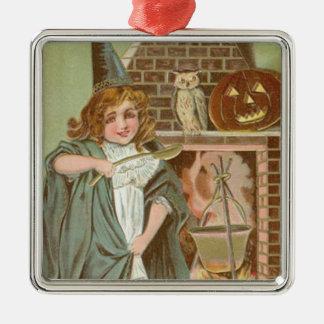 魔法使いのフクロウのハロウィーンのカボチャのちょうちんの暖炉 メタルオーナメント