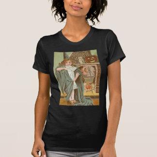 魔法使いのフクロウのハロウィーンのカボチャのちょうちんの暖炉 Tシャツ