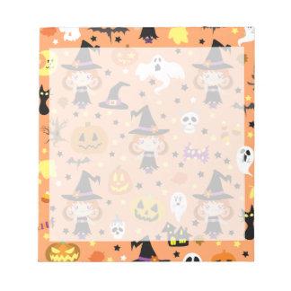 魔法使いの女の子のハロウィンパターン ノートパッド