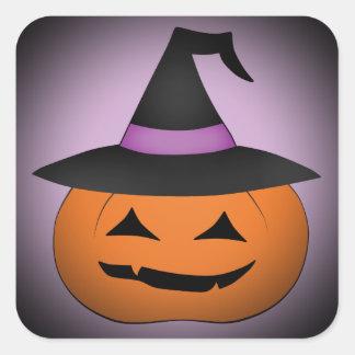 魔法使いの帽子とのハロウィンハロウィーンのカボチャのちょうちん スクエアシール