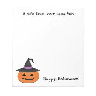 魔法使いの帽子とのハロウィンハロウィーンのカボチャのちょうちん ノートパッド