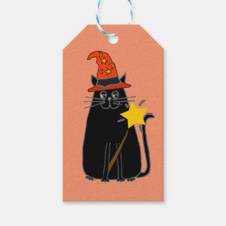 魔法使いの帽子のハロウィンの芸術のクールな黒猫 ギフトタグ