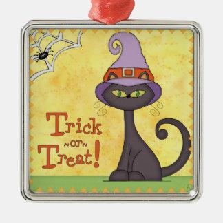 魔法使いの帽子のハロウィン猫 メタルオーナメント