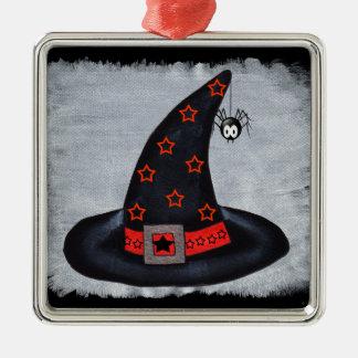 魔法使いの帽子はかわいいくもを主演します メタルオーナメント