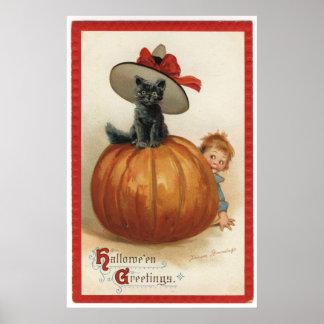 魔法使いの帽子を持つヴィンテージの黒猫 ポスター