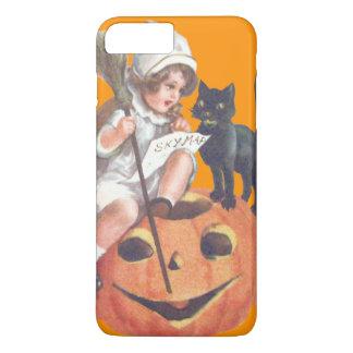 魔法使いの衣裳の黒猫のハロウィーンのカボチャのちょうちんのカボチャ iPhone 8 PLUS/7 PLUSケース