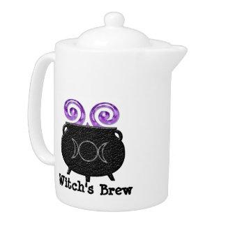 魔法使いの醸造物の異教のな月の大がまの茶ポット