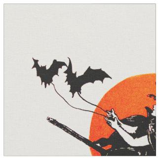 魔法使いの飛んでいるなほうきの満月のこうもり ファブリック