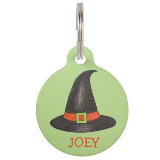 魔法使いの魔法使いの帽子の帽子のハロウィンの黒い緑のラベル ペット ネームタグ