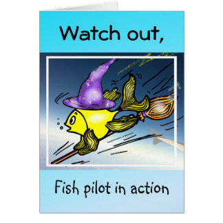 魔法使いの魚-おもしろいでかわいいスケッチ カード