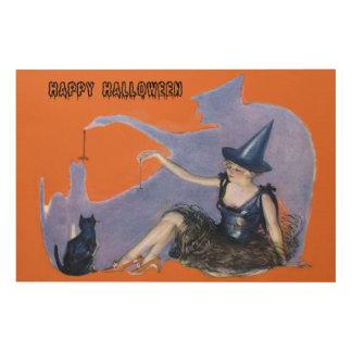 魔法使いの黒猫のくもの影 ウッドウォールアート