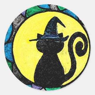 魔法使い猫のステッカー ラウンドシール