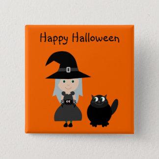 魔法使い、くも及び猫が付いているハロウィンかわいいボタン 5.1CM 正方形バッジ