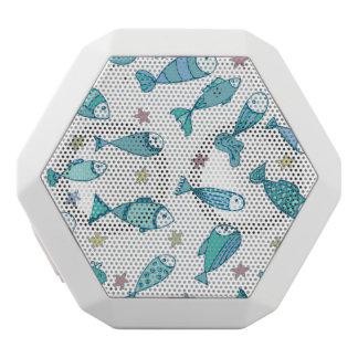 魚およびヒトデが付いているパターン ホワイトBluetoothスピーカー