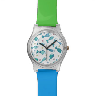 魚およびヒトデが付いているパターン 腕時計