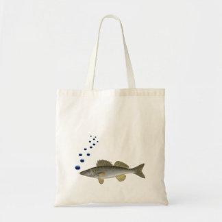 魚および泡を持つ古いイラストレーション トートバッグ