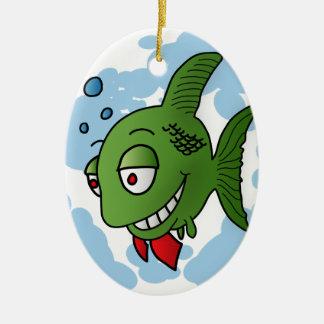 魚および泡 セラミックオーナメント