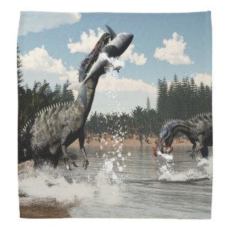 魚および鮫を採取しているSuchomimusの恐竜 バンダナ