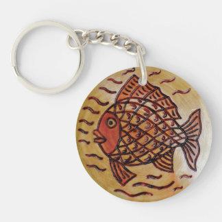 魚が付いている木の装飾 キーホルダー