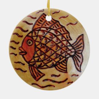 魚が付いている木の装飾 セラミックオーナメント