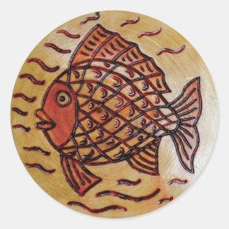 魚が付いている木の装飾 ラウンドシール